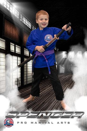 Spencer with weapon in dojo