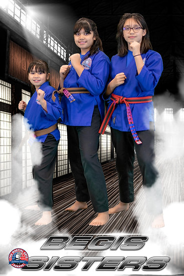 Begis sisters at attention in dojo