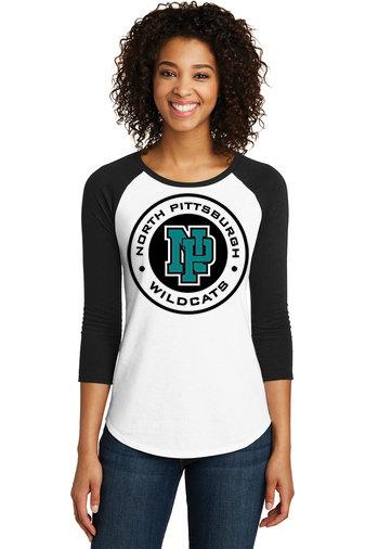 NP Wildcats-Women's Baseball Style Shirt-Wildcat Round Logo