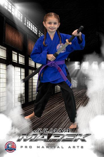 Juliana with weapon in dojo