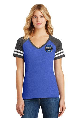 SCS-Women's District Gameday V-Neck Shirt-Left Chest Logo