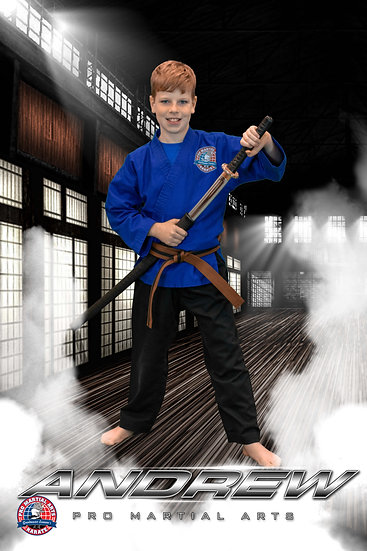 Andrew with weapon in dojo