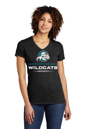 NP Wildcats-Women's Allmade Recycled V-Neck Shirt-Wildcat Logo 2