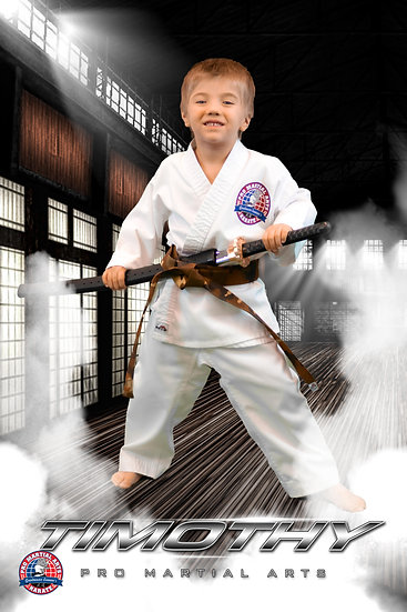 Timothy with weapon in dojo