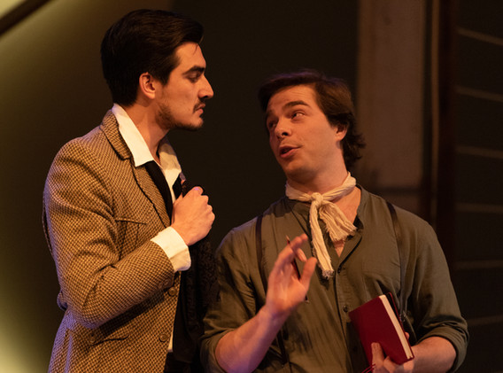 Cameron Taylor as Luigi D'Albertis and Cameron Sibly as Young Lawrence Hargrave in Barry Conyngham's Fly by Lyric Opera. Photo by Lachlan Woods.