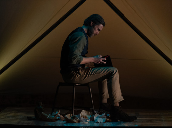 Sam Roberts-Smith as Lawrence Hargrave in Barry Conyngham's Fly by Lyric Opera. Photo by Lachlan Woods.