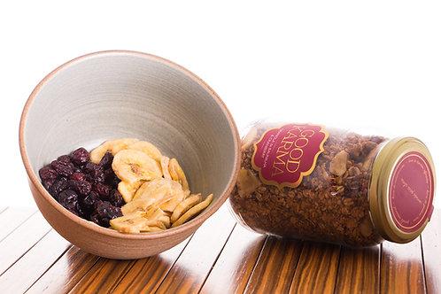 Granola de Cranberry, Banana Chips e Baunilha