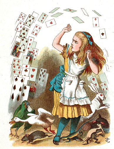 Alice in Wonderland throwing the deck of cards