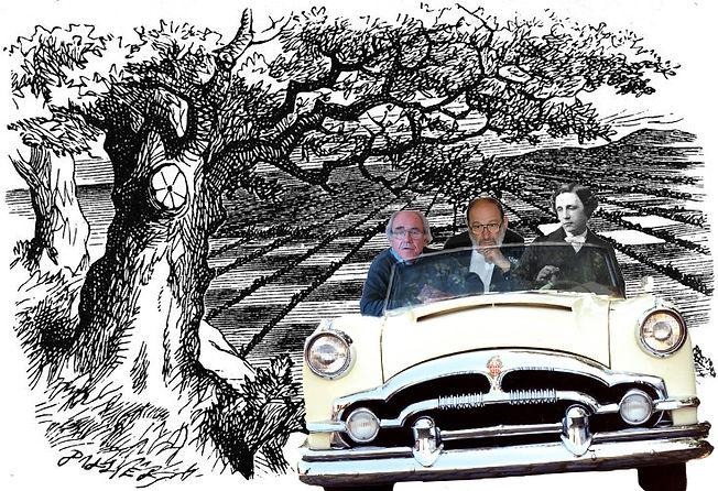 Lewis Carroll Umberto Eco and Jean Baudrillard discussing Alice in Wonderland