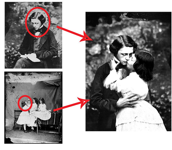 Fake photograph of Lewis Carroll kissing Alice Liddell of Alice in Wonderland