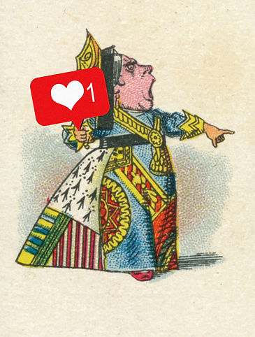 The Queen of Hearts of Alice in Wonderland holding a social media like button