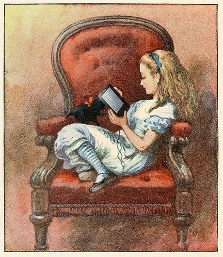 Alice in Wonderland reading a kindle e-book