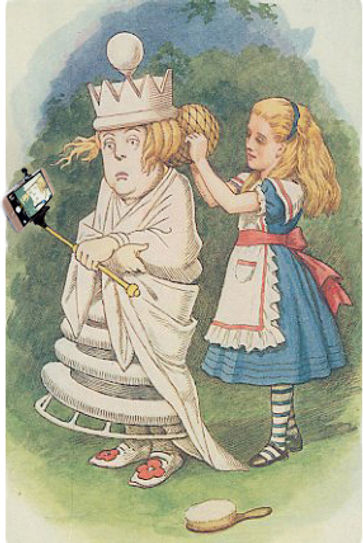 Photoshop of The White Queen from Alice in Wonderland taking a selfie