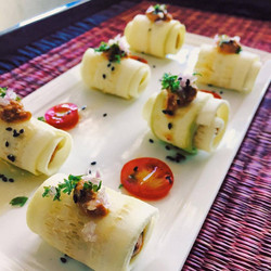 Zucchini  Roll with fermented almond