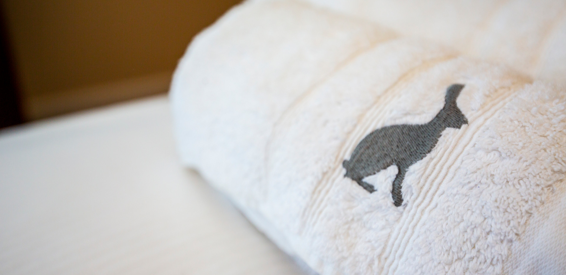 All towels and linen are branded