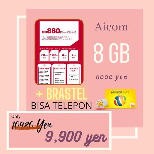 DOCOMO AICOM 8GB + BRASTEL 050