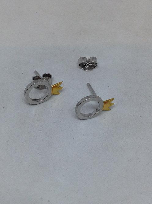 Zilveren oorstekers ring met kroontje