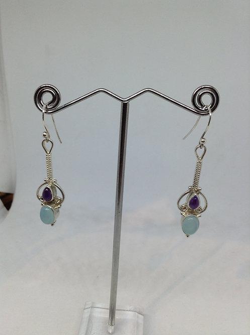 Zilveren oorbellen met amethist en aquamarijn