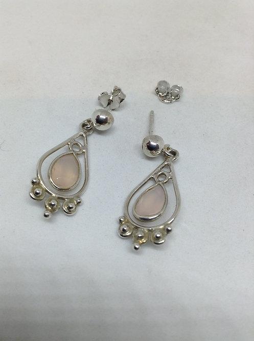 Zilveren oorbellen met rozen kwarts