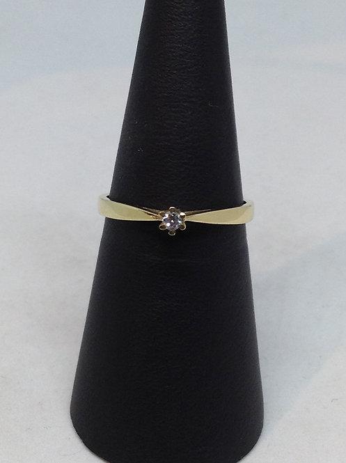 14Krt. geel gouden ring met diamant
