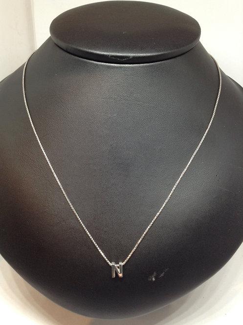 """Zilveren collier met letter""""N"""""""