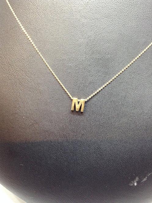 """14K gouden collier met letter""""M"""""""