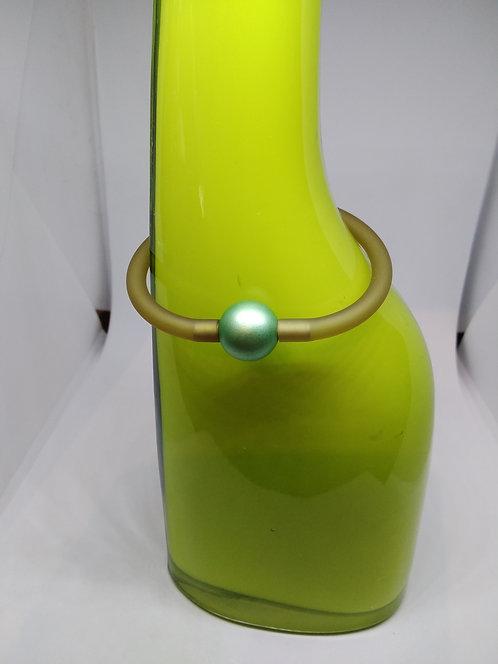 Siliconen rubber armband met geanosideerd aluminium groene bol