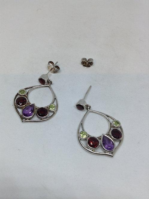 Zilveren oorbellen met amethist, peridoot en granaat