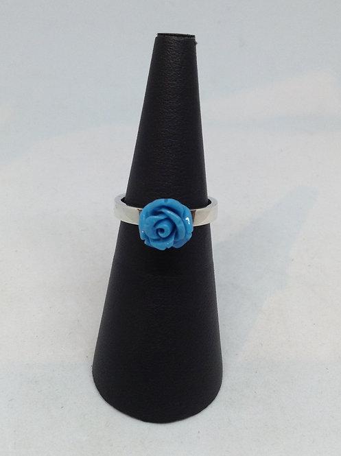 Zilveren ring met blauw roosje