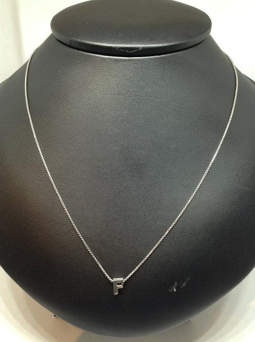 """Zilveren collier met letter""""F"""""""