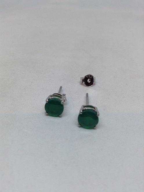 Zilveren oorsteker met smaragd