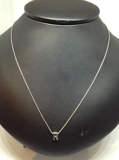 """Zilveren collier met letter""""R"""""""