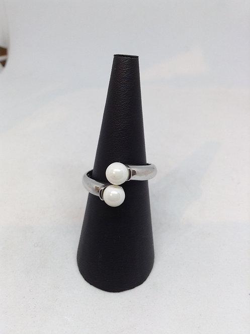 Zilveren ring met parels