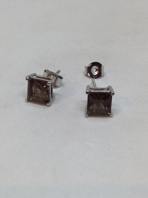 Zilveren oorsteker met rook kristal