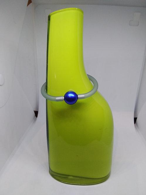 Siliconen rubber armband met blauw geanodiseede bol
