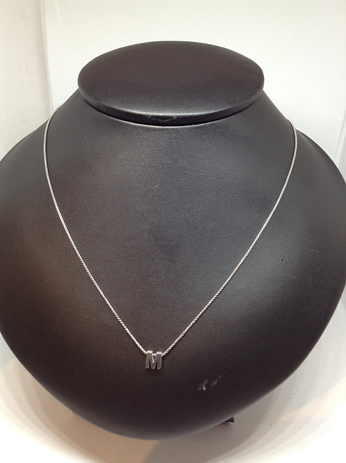 """Zilveren collier met letter""""M"""""""