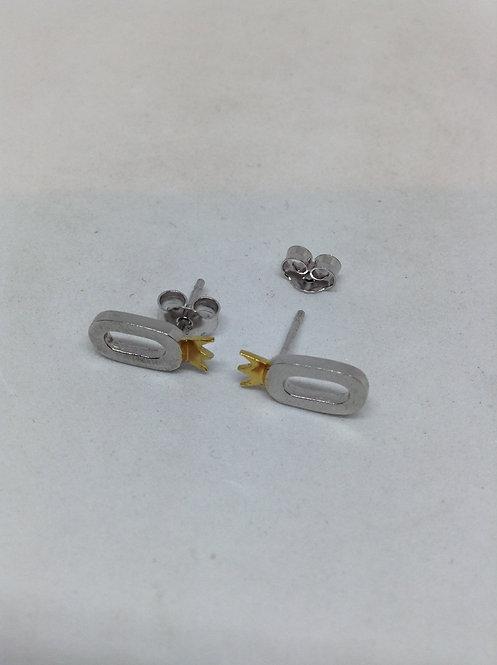 Ovaal zilveren oorstekers met kroontje