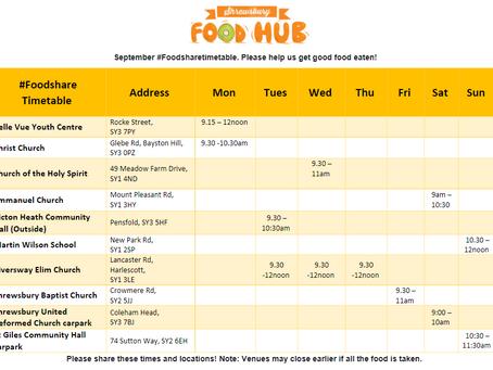 September #foodshares Timetable & FAQs