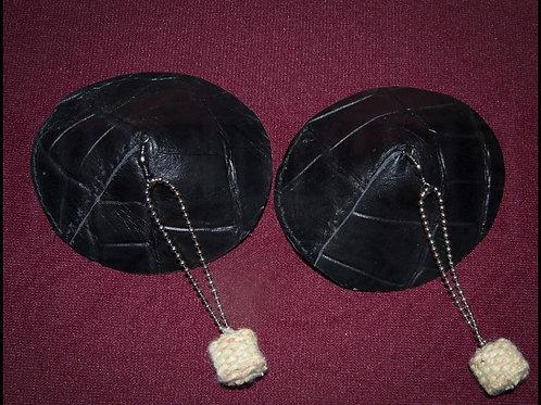 Black Leather Pasties (Pair)