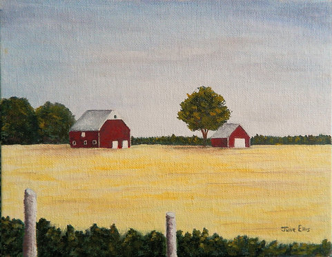 Red Barns in the Fields (original oil painting 8x10)