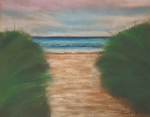Path to the Beach (original pastel painting 8x10)