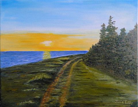 Lane in the Sunset (original oil 11x14)