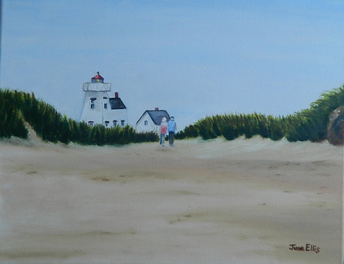 Walk to the Lighthouse (original oil painting 8x10)