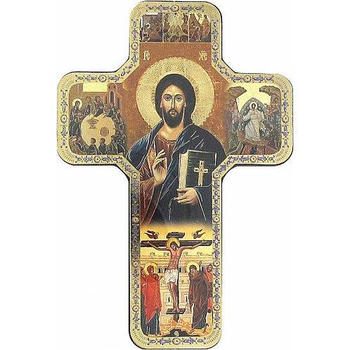 Croce Icona di Cristo legno 18X12