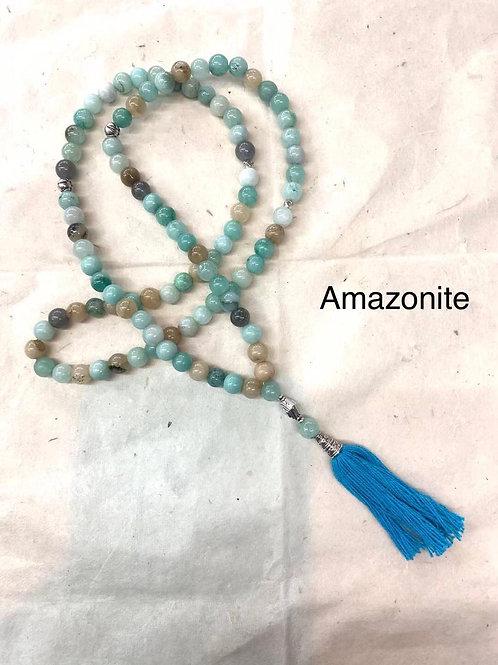 Corda di preghiera con 100 pietre di amazonite, benedetta 33 volte