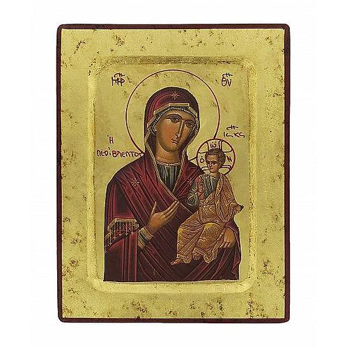 Icona Madonna con il Bambino, produzione greca su legno - 18 x 14 cm