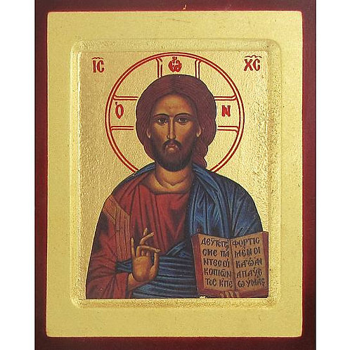 Icona Cristo Pantocratore libro aperto stampa su legno scavato - 24 x 19 cm