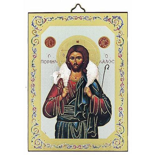Icona Gesù Buon Pastore stampa su legno - 10 x 14 cm