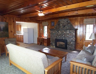 Cabin 5 Fireplace- livingroom with foutons
