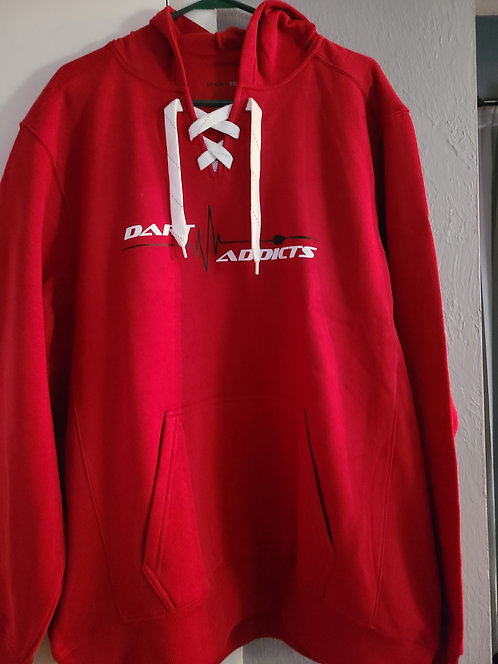 """Hockey lace"" Hoodie--Red"